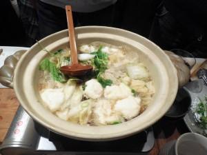 先ずは野菜と自然薯の鍋