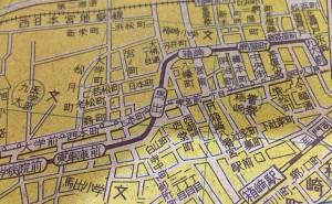 馬出旧道、電車通地図