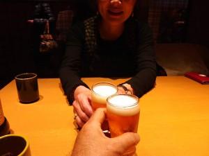 先ずはビールで乾杯!